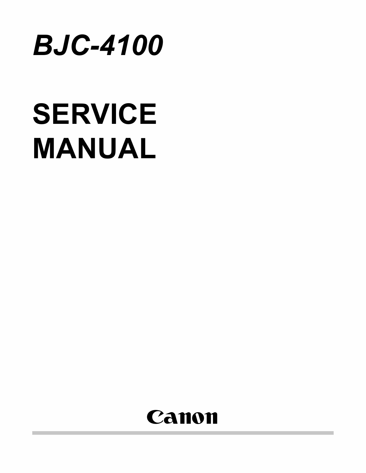 Canon BubbleJet BJC-4100 Service Manual-1